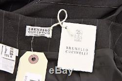 NWT$3125 Brunello Cucinelli VWool Sparkly Monili Striped Full Pleat Skirt 42/6US