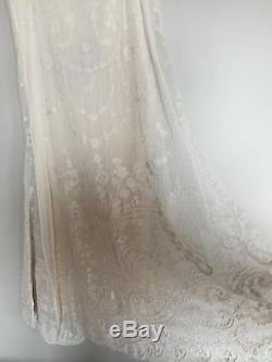 NWT $398 RALPH LAUREN BLUE LABEL Sz 6 Ivory Vintage High-Low Lace Maxi Skirt