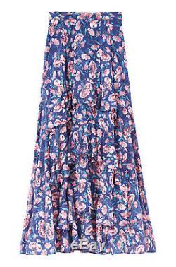 NWT $595 Rebecca Taylor Silk Cotton Floral Ruffle Maxi Skirt Size 4