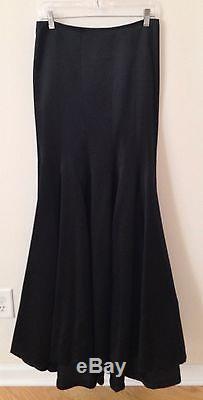 NWT AKRIS Solid Black Silk Maxi Flared Designer Skirt Full-Length Long 6 $2990