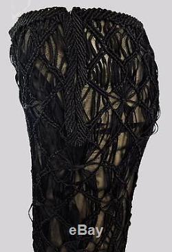 NWT ALBERTA FERRETTI Black Rayon Woven MACRAME Long MAXI SKIRT Sz 8 Slinky GLAM