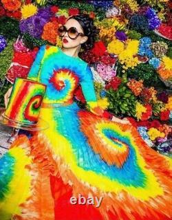 NWT Alice + Olivia Shannon Rainbow Tie Dye Pleated Maxi Skirt $485 Sz 0 XS