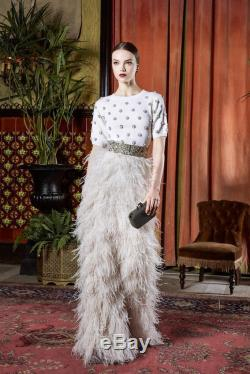 67cf417c7 NWT Alice + Olivia Sherelle Cream Ostrich Feathered Maxi Skirt $3,098 Size 4