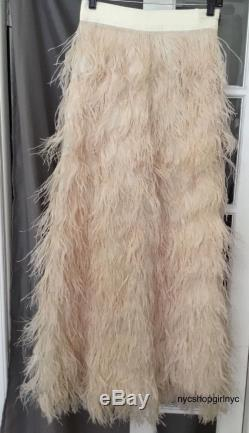 NWT Alice + Olivia Sherelle Cream Ostrich Feathered Maxi Skirt $3,098 Size 4