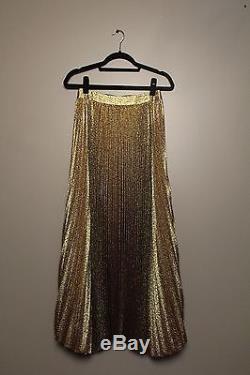 NWT, Alice and Olivia, Gold Pleated Maxi Skirt, Size 4, Originally $495