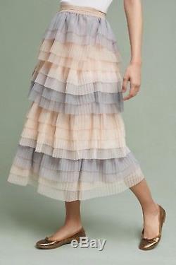 NWT Anthropologie Eva Franco blush nude gray Tulle Pleat Tier Midi Maxi Skirt 6