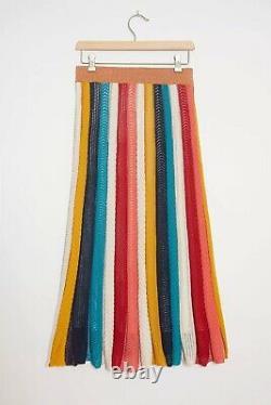 NWT Anthropologie Farm Rio Jimena Knit Rainbow Maxi Skirt Size Large GORGEOUS