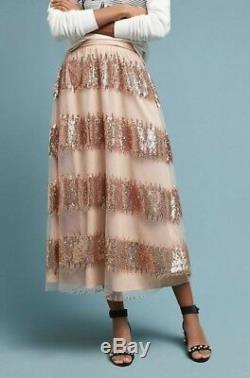 NWT Anthropologie blush nude Sequin Tulle Stripe Swingy Maxi Skirt 12