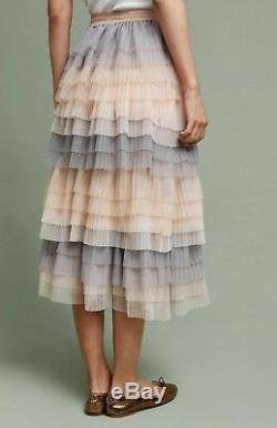 NWT Anthropologie blush nude gray Tulle Pleat Tier Midi Maxi Skirt 12