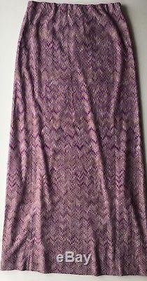 NWT Authentic MISSONI Zigzag Purple/Gold Long maxi skirt SIZE 48 EU Italy