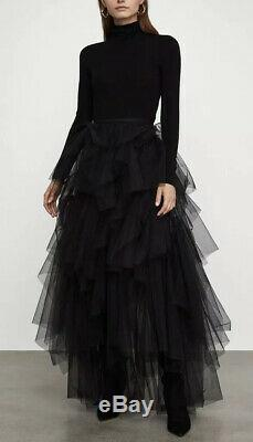 NWT BCBG MAXAZRIA Camber Layered Tulle Maxi Skirt Color Black Size S Small
