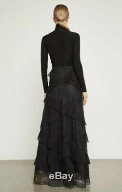 NWT BCBG MAXAZRIA Lace Ruffled Maxi Skirt Color Black Size XS
