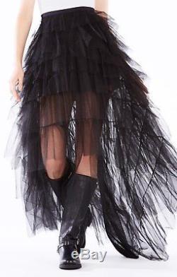 NWT BCBG MAXAZRIA RUNWAY Limited Edition BLACK Tulle Ruffled Maxi SKIRTXXS