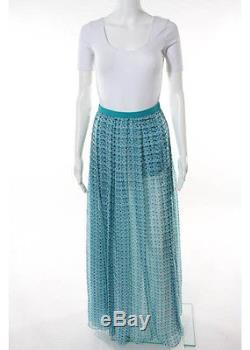 NWT BRIONI Blue White Silk Geometric Maxi Skirt Sz IT 40 $3347 165750