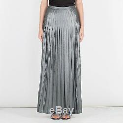 NWT CATHERINE MALANDRINO Dark Silver Metallic Pleats Long Maxi Skirt Size 4 $285