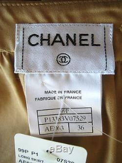 NWT CHANEL Vintage 99P Long Maxi Cotton Skirt size 36