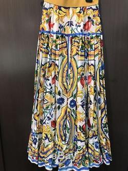 NWT DOLCE&GABBANA Majolika Print Maxi Skirt 40/4