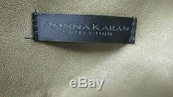 NWT Donna Karan 6 Italian Lamb Skin Leather Strip Stit Maxi Skirt Long Stripped