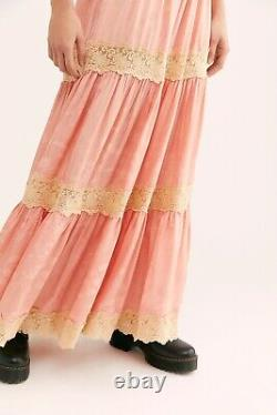 NWT FREE PEOPLE X SPELL & THE GYPSY COLLECTIVE Sz M OCEAN LACE TIERED MAXI SKIRT
