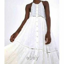 NWT Farm Rio Maxi Dress Harmonia White Cotton Tiered Skirt Floral Women's Small