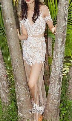 NWT For love & lemons Luau maxi skirt Nude White Lace Coachella Festive Size XS