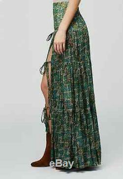 NWT Free People FP ONE Esmeralda Maxi Skirt Green Smocked High Slit $168 XS