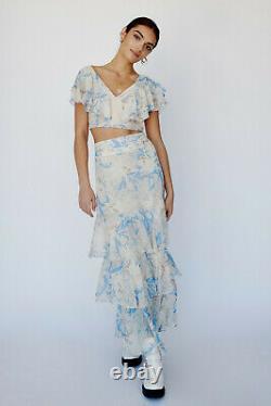 NWT Free People Petal Set Maxi Skirt & Top Floral Sz 8 Blue Gold Ivory