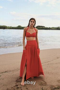 NWT Free People Red Francoise Set Size XS Crop Top & A-Line Maxi Skirt