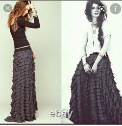 NWT Free People Womens Black Ruffle Tiered Maxi Long Boho Skirt Xs