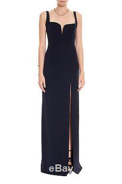 NWT GALVAN Signature Corset Dress Sz 40 Blue Navy Crepe Slit Maxi Fluid Skirt