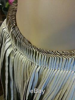 NWT Gianfranco Ferre Italy Pleated Gold Lame Tie Stripe Circle Maxi Skirt 42