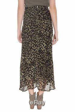 NWT ISABEL MARANT ETOILE Cega Leopard Maxi Skirt $455 Sz 42 Olive Black