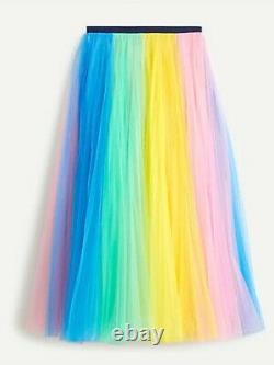 NWT J Crew Rainbow Tulle Maxi Skirt Sz 10 Pink Marigold Multi $248 BLOGGER FAVE