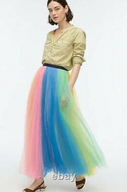 NWT J Crew Rainbow Tulle Maxi Skirt Sz 6 Pink Marigold Multi $248 J. Crew