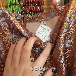 NWT Johanna Ortiz D'Artagnan Fluted Rose Gold Jacquard Maxi Skirt