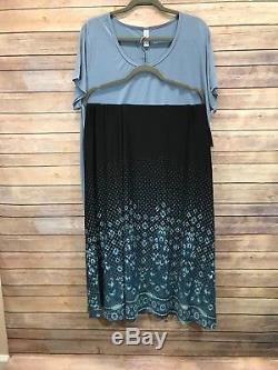 NWT Lularoe L Maxi Skirt Ombré Dipped Dot Black Blue White UNICORN 2X Classic T