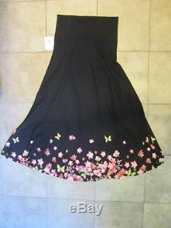 NWT Lularoe Large MAXI Skirt Floral Dipped Butterflies Black Unicorn