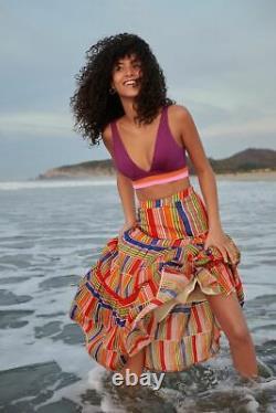 NWT M Anthropologie Farm Rio Alena Stripes Maxi Skirt Colorful Tiered Cotton
