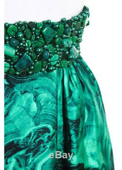 NWT MICHAEL KORS Emerald Wool Silk Abstract Beaded Trim Skirt Sz 6 $6500