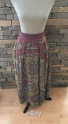 NWT Missoni Wool Knit Maxi Skirt Flowers Blue Red Yellow Size 50
