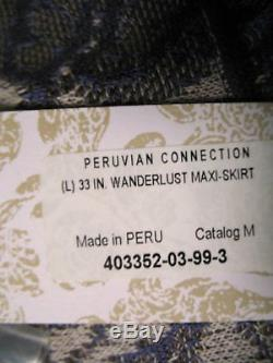 NWT PERUVIAN CONNECTION Pima Knit Wanderlust Maxi Skirt L XL Blue
