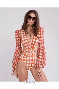 NWT Patbo Orang check print dress Bodysuit Skirt Set