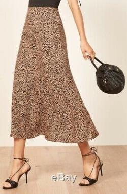 NWT Reformation Bea Skirt Bengal Leopard Cheetah Midi High Rise Size 8