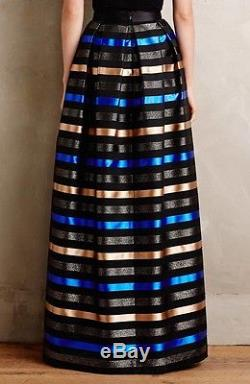NWT Shoshanna Prelude Striped Jacquard Maxi Ball Skirt Size 4