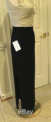 NWT St John Evening Knit Black side pleat Long Maxi Skirt Size 10