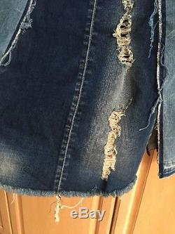 Nwt True Religion Destroyed Indigo Pieced Denim Skirt Maxi Long Size 31 $399
