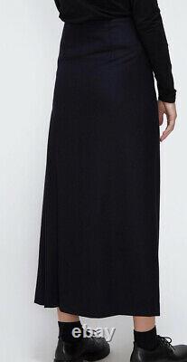 NWT Tomorowland Japan black wool wrap pleated maxi skirt Totokaelo 38 S M $450