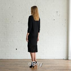 NWT ULLA JOHNSON Black Gia Dress Long Maxi Tassel Fringed Skirt Baby Alpaca M