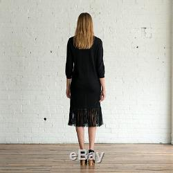 NWT ULLA JOHNSON Black Gia Dress Long Maxi Tassel Fringed Skirt Baby Alpaca Sz M