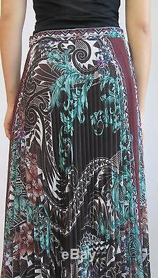 Nwt Versace Collection Pleated Floral Colorful Large Slit Vent Maxi Skirt44/8